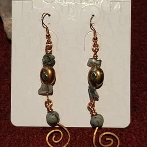 Copper Earring Drops with Moss Agate and Picture Jasper