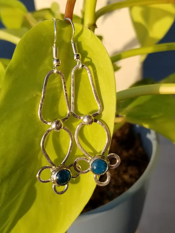 Fine Silver Polished Dangles with Neon Apatite Stones