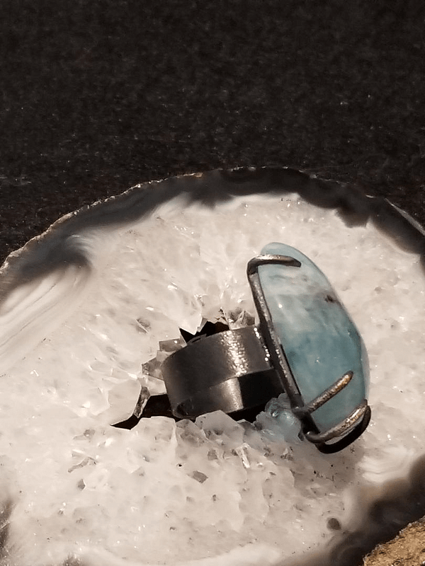 Large Sterling Silver Aquamarine Ring