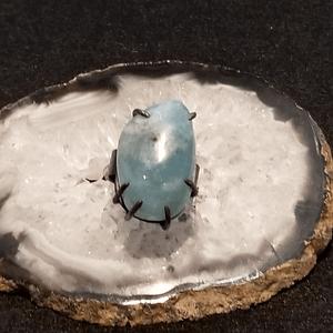 Large Sterling Silver Aquamarine Ring