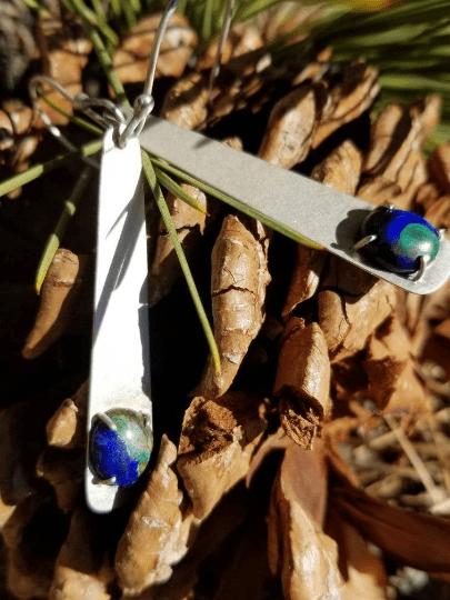 Sterling Silver Azurite Dangle Earrings