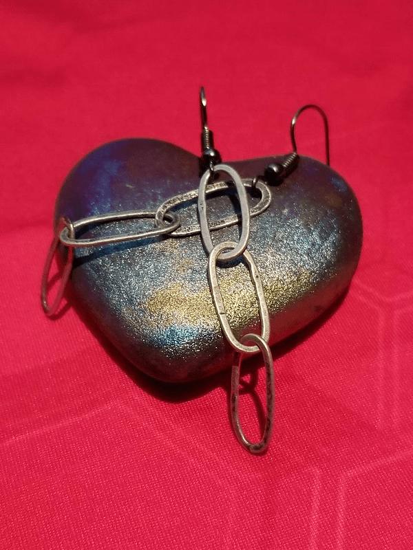 Fine Silver Triple Link Earrings